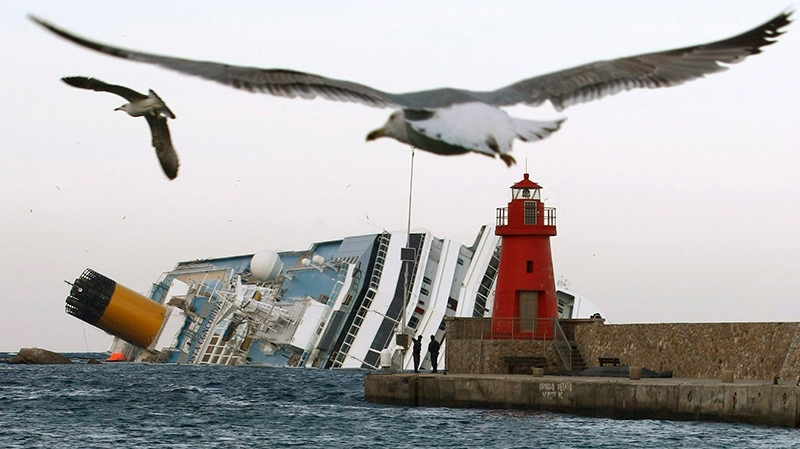 Seagulls fly in front of the grounded cruise ship Costa Concordia off the Tuscan island of Giglio, Italy, Monday, Jan. 30, 2012. (AP / Pier Paolo Cito)