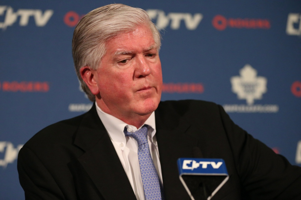 Former Toronto Maple Leafs General Manager Brian Burke attends a news conference in Toronto on Saturday, January 12, 2013. (Chris Young / THE CANADIAN PRESS)