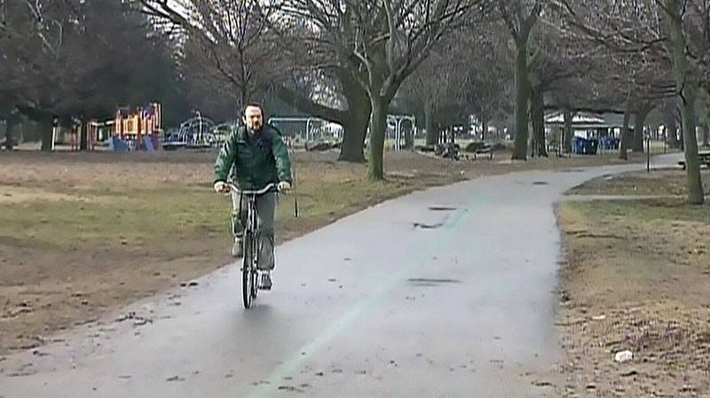 A man goes for a bike ride in Toronto on Saturday, Jan. 12, 2013.