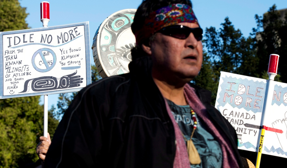 People take part in an Idle No More protest outside Vancouver City Hall in Vancouver, B.C., Friday, January, 11, 2013. (Jonathan Hayward / THE CANADIAN PRESS)