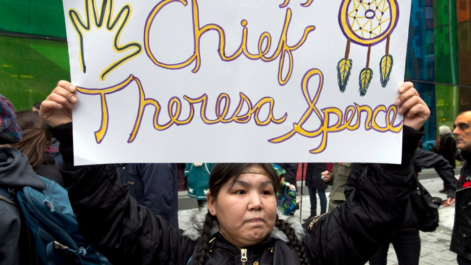 A protester holds up a sign in support of hunger striker Chief Theresa Spence during an Idle No More demonstration in downtown Montreal Friday, January 11, 2013. (Ryan Remiorz / THE CANADIAN PRESS)