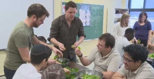 Bryce Nagels and Shawn Wayne Manning of Urban Seedling help students grow their own vegetables.