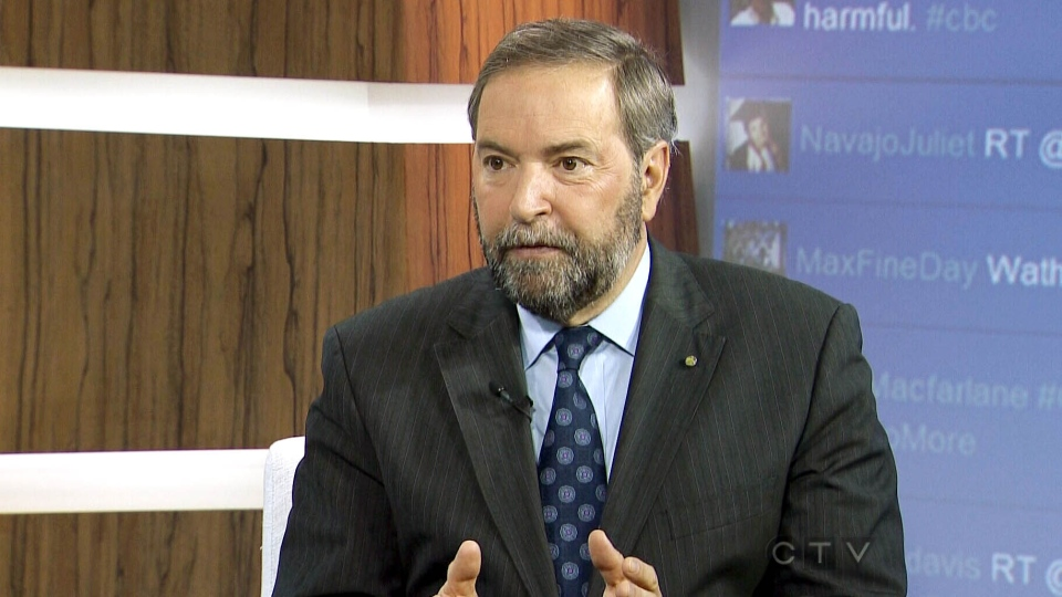 NDP Leader Thomas Mulcair appears on CTV's Question Period on Sunday, Jan. 13, 2013.