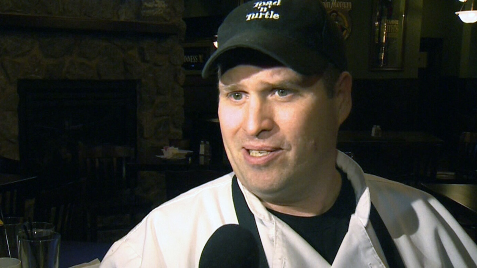 Pub owner Dave McHugh recounts the incident that happened near Toad 'n' Turtle pub in Airdrie, Atla., on Jan. 12, 2013.