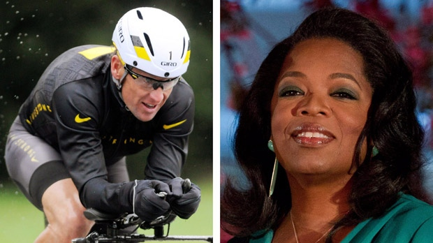 This combination image shows Lance Armstrong, left, on Oct. 7, 2012, and Oprah Winfrey, right, on March 9, 2012. (AP / File)