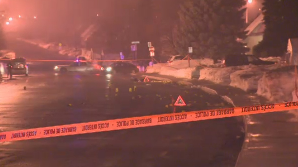 Police closed Des Seigneurs Blvd. in Terrebonne on Sunday Jan 13, 2013 while investigating a fatal hit and run.