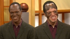 In this composite of video frames, Lee Thomas is seen on CTV's Canada AM, from left, with his makeup and without. (CTV/Canada AM)