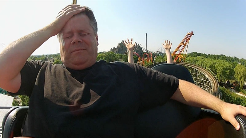 Owen Garratt, pictured on a roller coaster during one of the challenges on Season 2 of 'Canada's Greatest Know-it-All,' which premieres on Discovery Monday night.