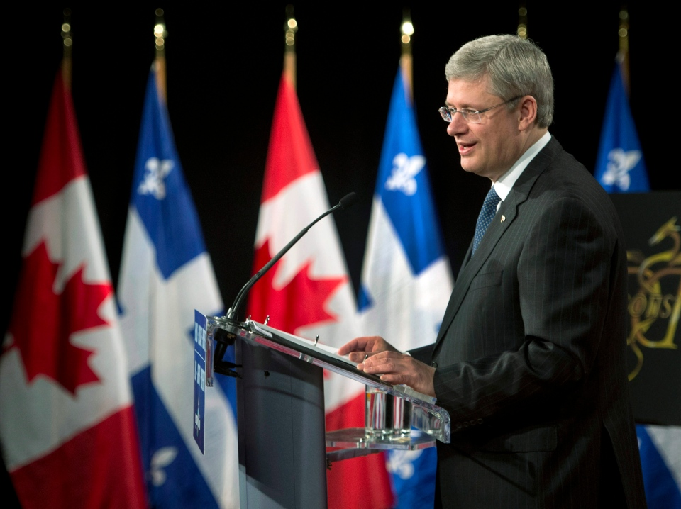 Prime Minister Stephen Harper responds to a question during a news conference Monday, January 14, 2013 in Montreal. (Ryan Remiorz / THE CANADIAN PRESS)
