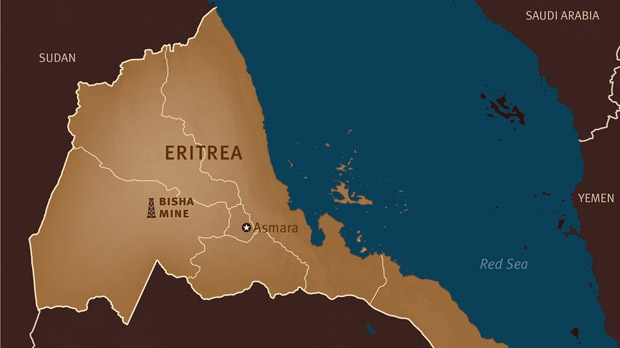 This map provided by Human Rights Watch shows the location of the Bisha mine in Eritrea. (HRW.org)