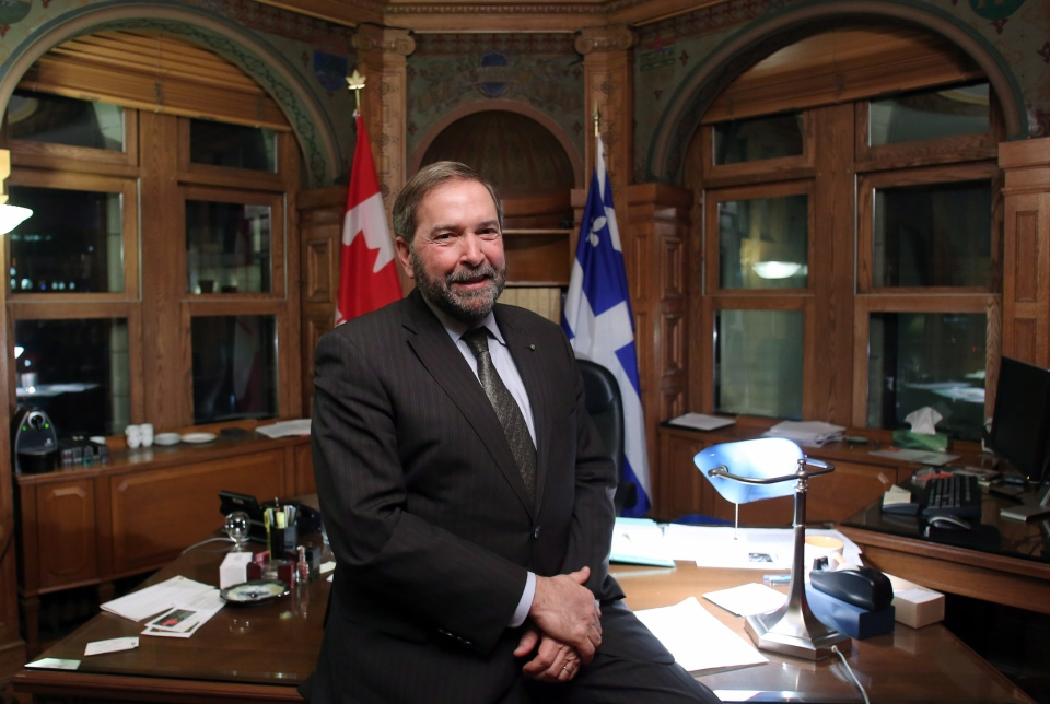 Opposition Leader Tom Mulcair is shown during an interview on Parliament Hill in Ottawa Tuesday December 11, 2012. (Fred Chartrand / THE CANADIAN PRESS)