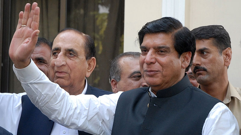Pakistan's Prime Minister Raja Pervaiz Ashraf waves in Islamabad, Pakistan, Friday, June 22, 2012. (AP/ B.K. Bangash)