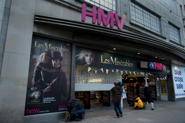 HMV on Oxford Street in London on Jan. 15, 2013.