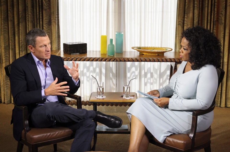 Oprah Winfrey interviews cyclist Lance Armstrong during taping for the show 'Oprah and Lance Armstrong: The Worldwide Exclusive' in Austin, Texas. (Harpo Studios, Inc. / George Burns)