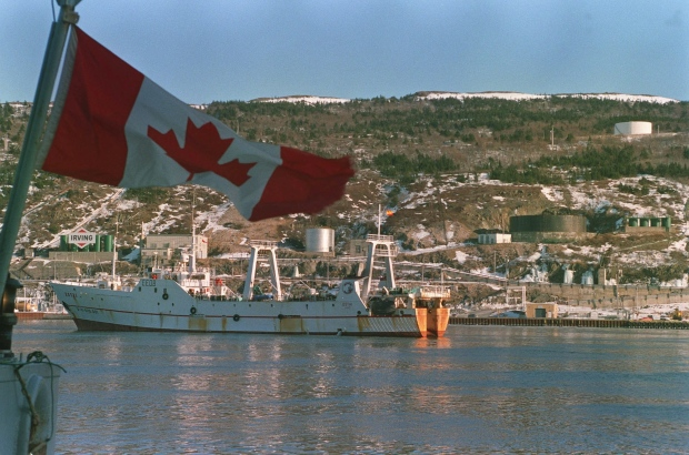 Spanish-flagegd Estai in St. John's, March 1995.