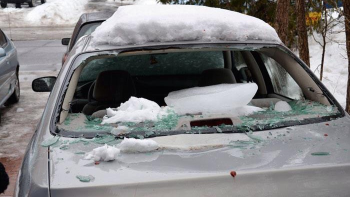 Falling ice smashes windshield