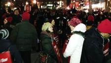 Teachers rally blocks intersection