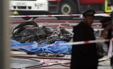 Chopper crash London debris fire video