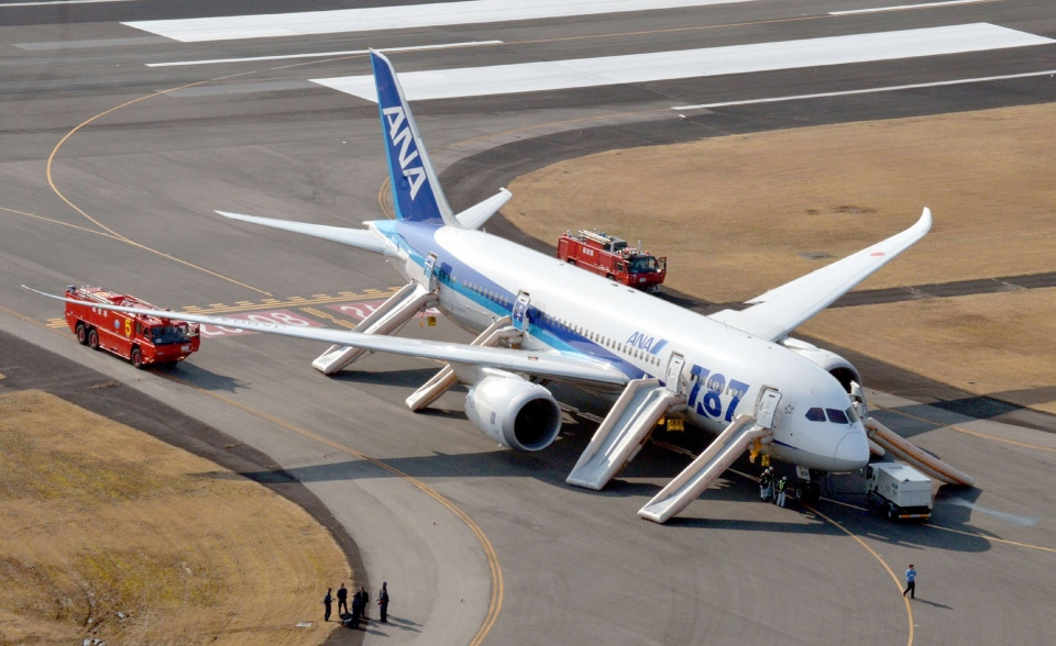 An All Nippon Airways flight sits at Takamatsu airport in Takamatsu, western Japan after it made an emergency landing Wednesday, Jan. 16, 2013.  (AP / Kyodo News)