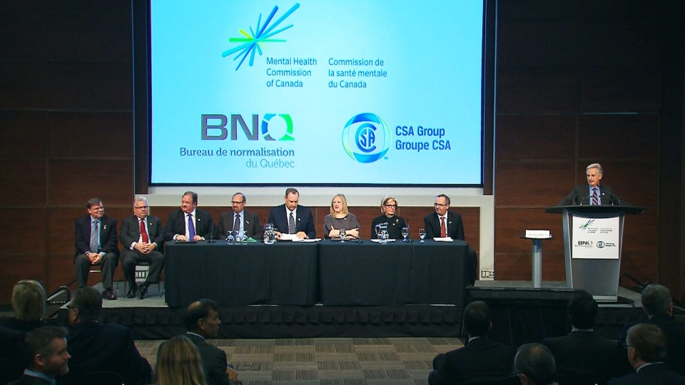 A mental health panel, including Bell Canada CEO and President George Cope and Labour Minister Lisa Raitt, launch a new standard for psychological safety at work on Wednesday, Jan. 16, 2013.