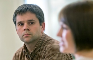Brian Preece and his wife Rebecca, of Nampa, Idaho, who want to adopt a Russian boy with Down's syndrome, are shown in Moscow, Russia. Now, a political squabble with a trace of Cold War friction has derailed those plans, leaving them in anxious limbo. (AP Photo/Misha Japaridze)