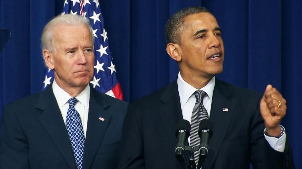 U.S. President Barack Obama and Vice-President Joe Biden unveil a new gun initiative on Wednesday, Jan. 16, 2013.