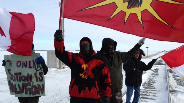 A group of protesters blocked the CN rail line at the Trans-Canada and Yellowhead highways, near Portage la Prairie, Man., on Jan. 16, 2013.