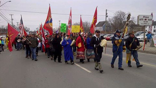 About 150 aboriginal protesters and their supporters marched from St. Mary's First Nation to the home of New Brunswick Lt.-Gov. Graydon Nicholas today as part of a national day of aboriginal protests.