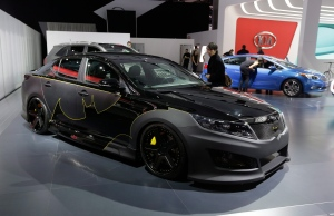 Hot new rides are on display for car lovers at the North American International Auto Show in Detroit. <br><br>The Batman-decorated Kia Optima is displayed at the North American International Auto Show in Detroit, Tuesday, Jan. 15, 2013. (AP / Carlos Osorio)