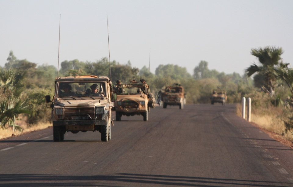 A convoy of French troops drives toward Niono on the road from Segou in central Mali, Wednesday, Jan. 16, 2013. (AP / Harouna Traore)