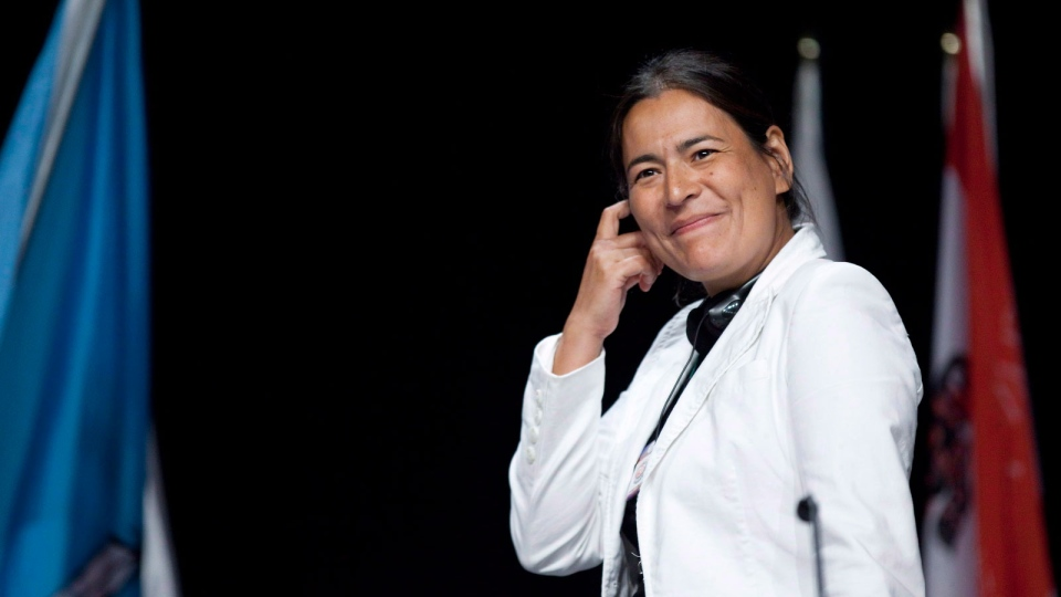Native leader Michele Audette, of Mani Utenam, Que., smiles at the Assembly of First Nations Annual General Assembly in Toronto on July 19, 2012. (Michelle Siu / THE CANADIAN PRESS)
