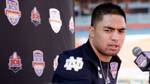 Notre Dame linebacker Manti Te'o answers a question during Media Day for the BCS National Championship college football game in Miami, Saturday, Jan. 5, 2013. (AP / David J. Phillip)
