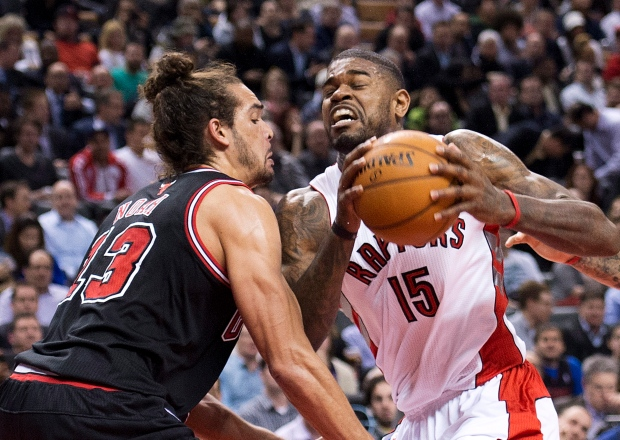 Amir Johnson, right, on Jan. 16, 2013.