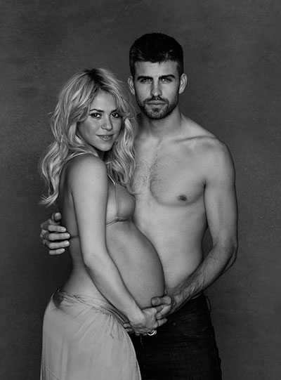 In this undated photo provided by UNICEF, Columbian born singer Shakira poses while pregnant with Spanish soccer player Gerard Pique. (AP)