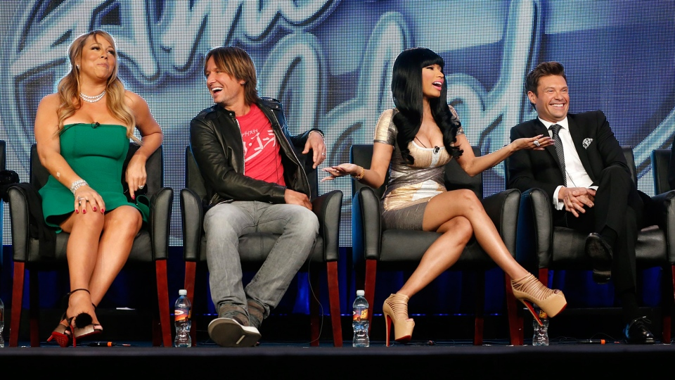 Mariah Carey, Keith Urban, Nicki Minaj and Ryan Seacrest from 'American Idol' attend a press event at the Langham Huntington Hotel, in Pasadena, Calif.