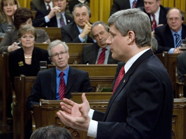 Opposition leader Stephane Dion and other Liberals listen to Prime Minister Stephen Harper during question period in the House of Commons in Ottawa Thursday, March 13, 2008. (Tom Hanson / THE CANADIAN PRESS)