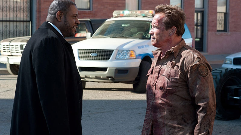 Forest Whitaker, left, and Arnold Schwarzenegger in a scene from Alliance Films' 'The Last Stand'