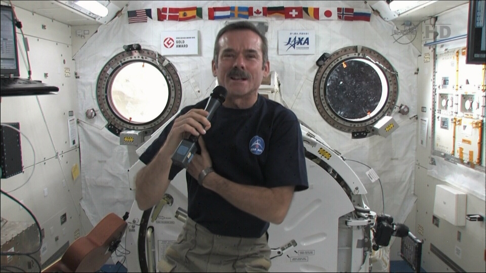 Chris Hadfield speaks from space to students, Thursday, Jan. 17, 2013.