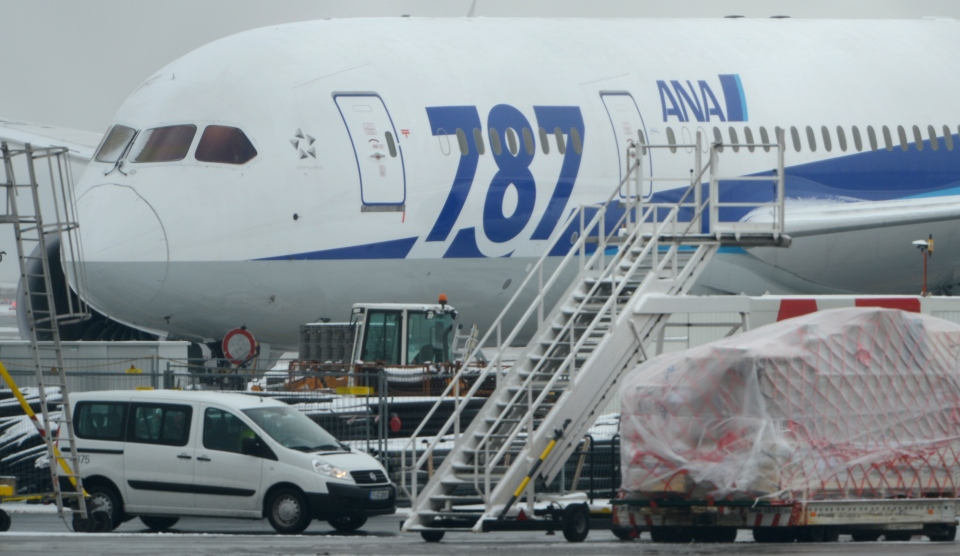 A Boeing 787 'Dreamliner' of the Japanese airline All Nippon Airways (ANA) is parked at the airport in Frankfurt , Germany Thursday Jan. 17, 2013. (AP / Arne Dedert)