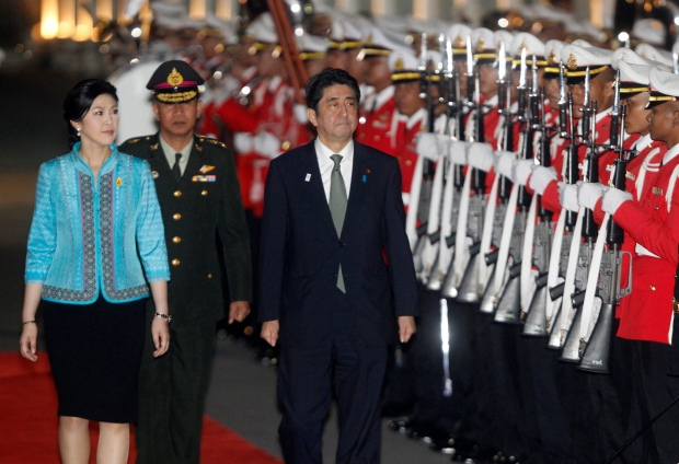 Yingluck Shinawatra and Shinzo Abe in Thailand