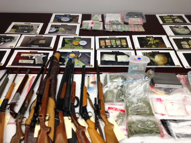 Police display some of the goods seized in a series of police raids across southern Ontario on Thursday, Jan. 17, 2013. (Kevin Doerr / CTV Kitchener)