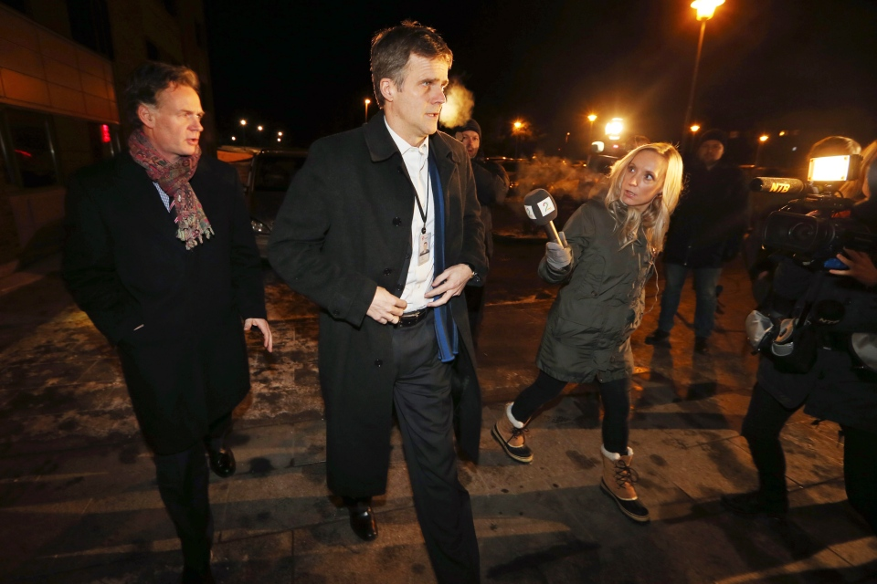 Statoil's CEO Helge Lund, arrives to meet at the centre for relatives to the hostages in Algeria, which has been established near the airport, in Bergen, Norway, Thursday, Jan. 17, 2013. (Hakon Mosvold / NTB Scanpix)