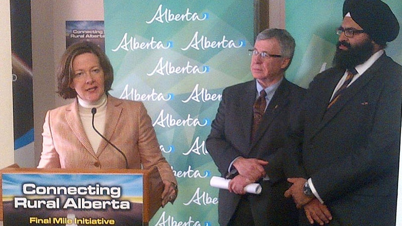 Premier Alison Redford announces more high-speed Internet access for rural-central Albertans at a press conference in Hinton on Thursday, Jan. 17, 2013.