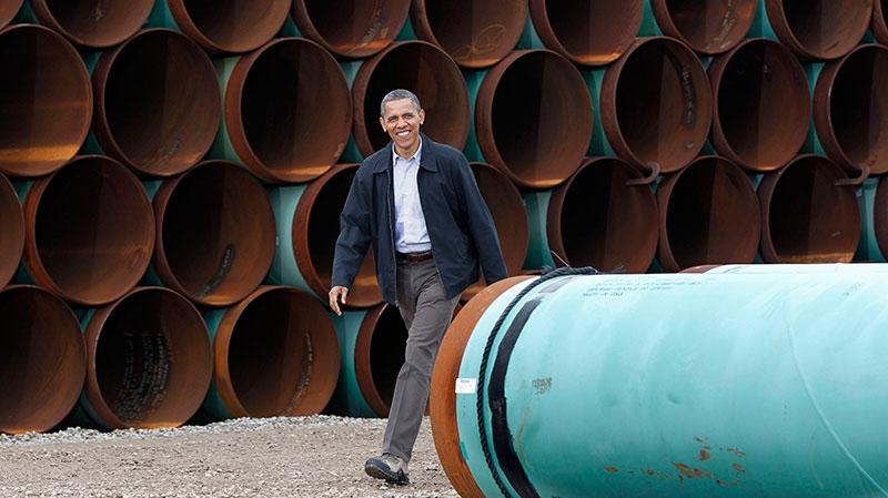 U.S. President Barack Obama arriving at the TransCanada Stillwater Pipe Yard in Cushing, Okla., March 22, 2012. (AP / Pablo Martinez Monsivais)
