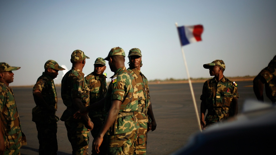 West African soldiers from Togo arrive at Bamako's airport Thursday Jan. 17, 2013. (AP / Jerome Delay)