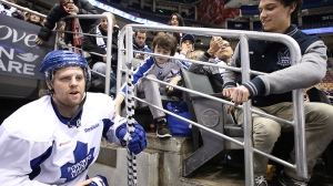 Toronto Maple Leafs Phil Kessel is greeted by fans as he takes to the ice for an open training session at the Air Canada Centre in Toronto on Thursday, Jan. 17, 2013. (Chris Young / THE CANADIAN PRESS)