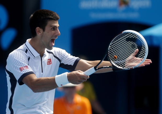 Djokovic at the Australian Open, Jan. 18, 2013.