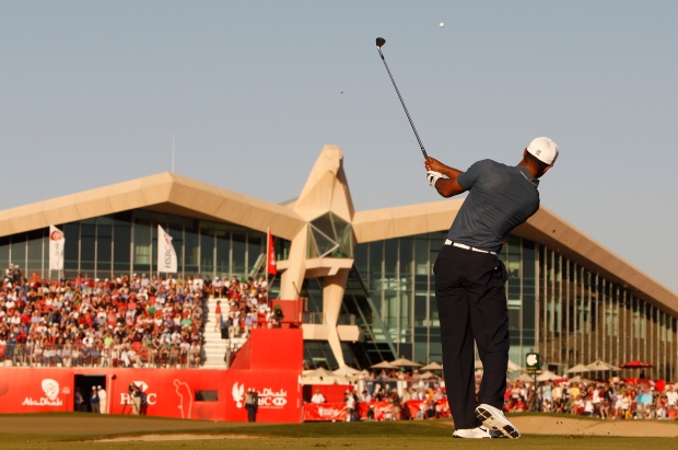 Tiger Woods in Abu Dhabi on Jan. 18, 2013.