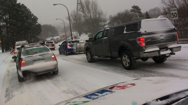 Traffic was tied up on Highway 102 inbound Friday morning.