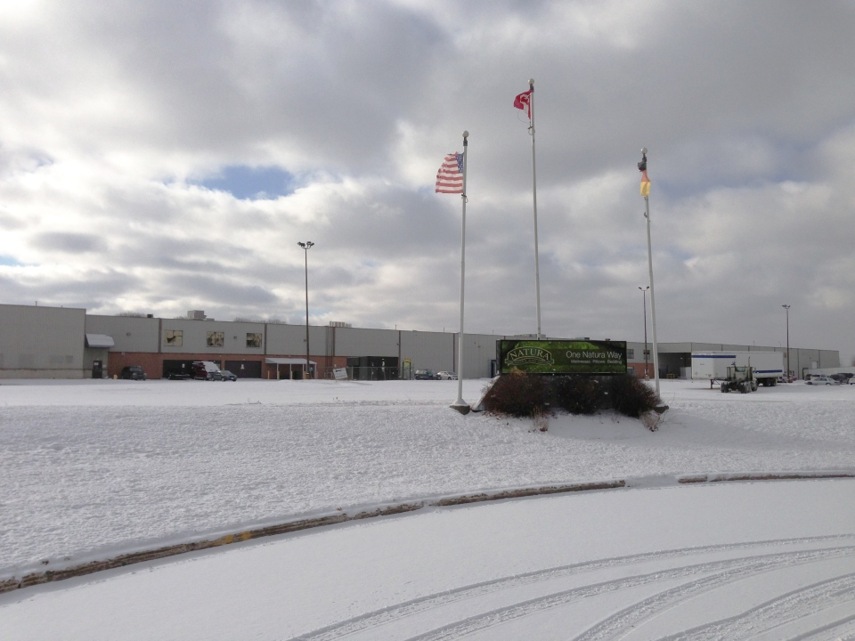 The Natura World mattress plant in Cambridge, Ont., is seen on Friday, Jan. 18, 2013. (Brian Dunseith / CTV Kitchener)